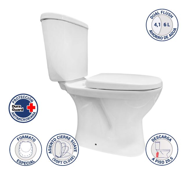 Estanque y WC Modena 20 cms C/Asto Soft Close